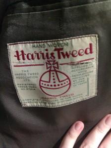 Label inside a 1960s Harris tweed jacket