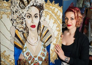 Jess De Wahls and artwork from her Big Swinging Ovaries exhibition