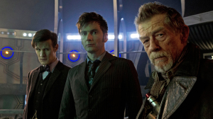 Matt Smith, David Tennant and John Hurt as different incarnations of The Doctor (Photo: BBC)