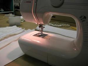 Sewing my corset panels together, at Prescott & Mackay