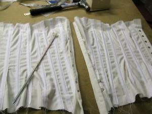 Busk and eyelets done. Corset making at Prescott & Mackay