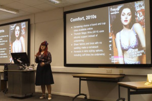Lorraine Smith giving a talk on the history of the bra, at London College of Fashion