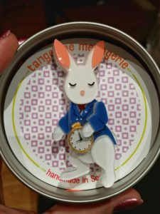 Alice in Wonderland inspired white rabbit brooch from Tangerine Menagerie