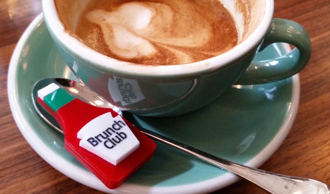 BrunchClub, custom badge and soya latte