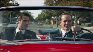 Grant Ward with Phil Coulson driving Lola in Marvel's Agents of S.H.I.E.L.D.