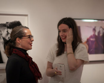Professor Frances Corner speaks to curator Lou Stoppard at the launch of Mad About The Boy. Image by Josh De Souza Crook.