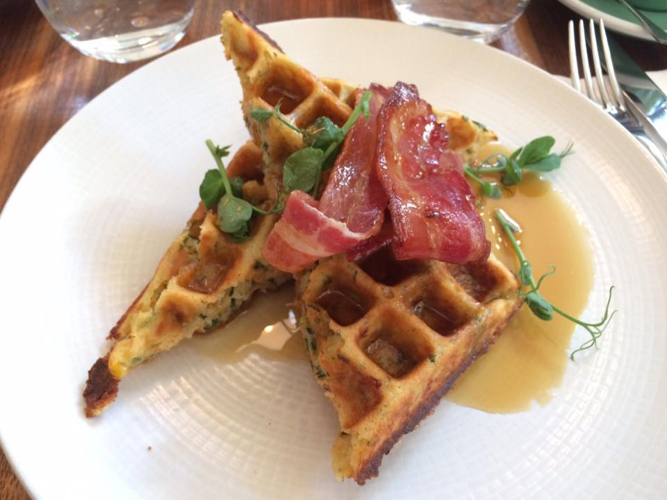 Eleanor's first ever savoury waffles (sweetcorn, feta, Medjool date & spring onion, with bacon) at The Modern Pantry