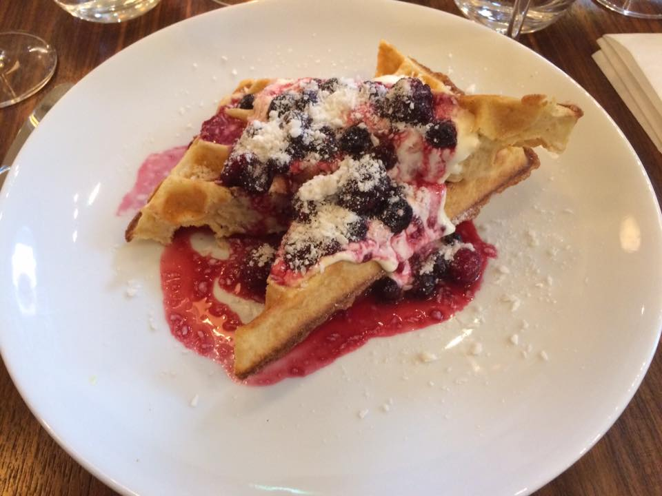 Eleanor's brunch pudding (coconut & cassava waffle with summer berry compote and crème fraiche), at The Modern Pantry