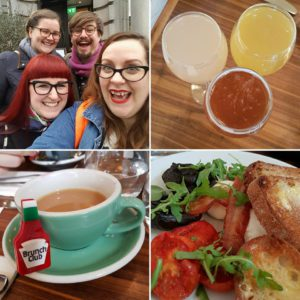 Lou's Brunch Club montage (with her new badge and the, now traditional, post-brunch group selfie!)