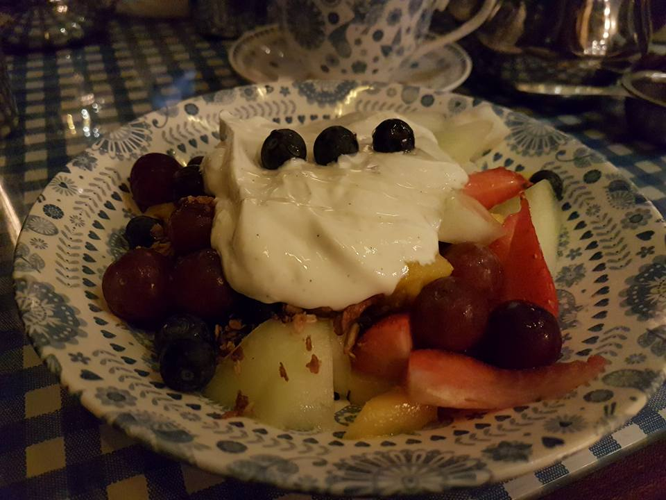Lori and Eleanor's granola, with lots of fruit and yoghurt, at Dishoom King's Cross (excuse the dark photo!)