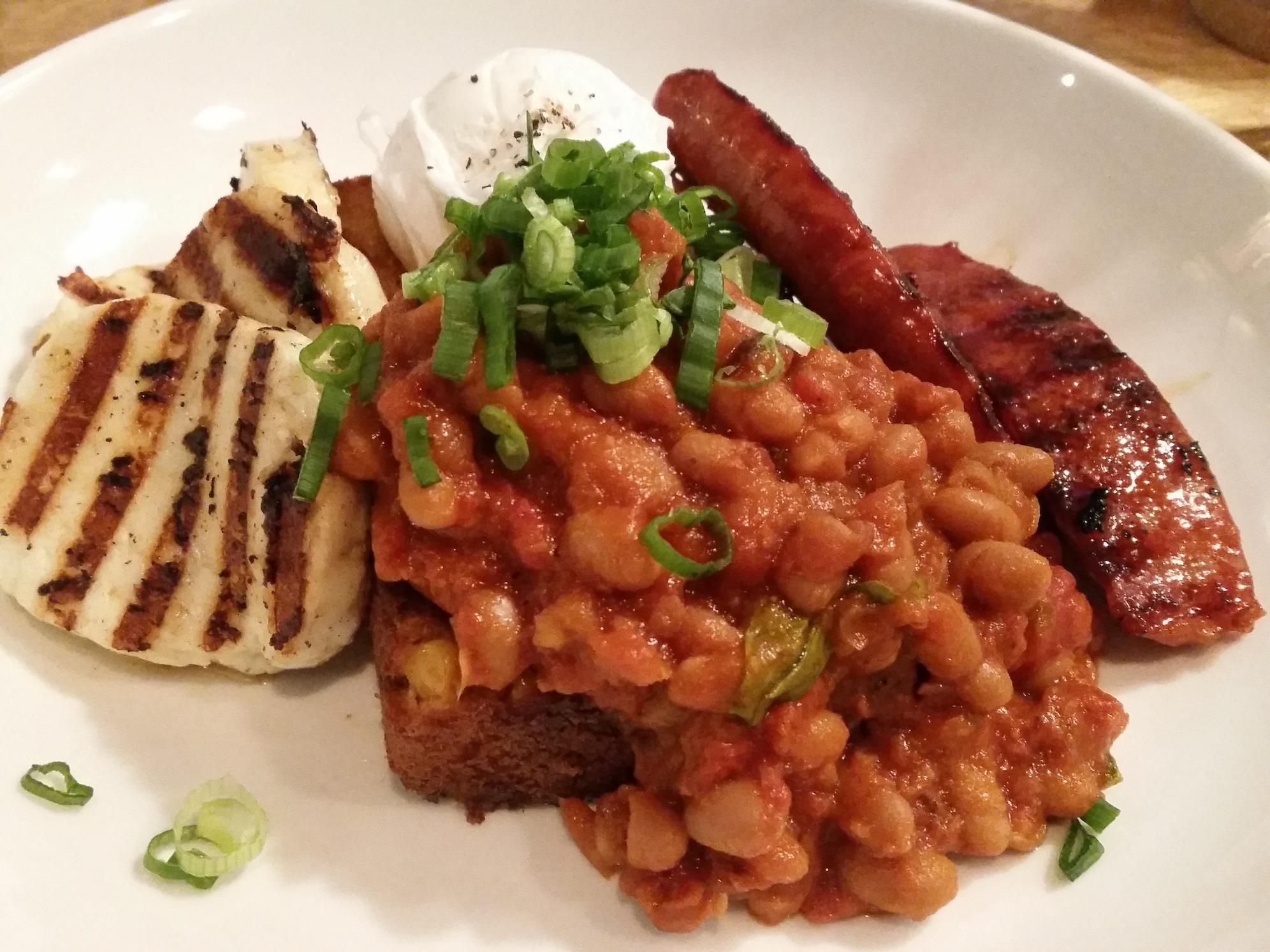 Lori's slow & low baked beans (with halloumi) at Lantana, Shoreditch