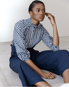 Studio by Preen Navy gingham print frilled shirt