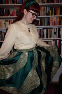 My spiral Liberty print skirt, handmade by Jess Hawke