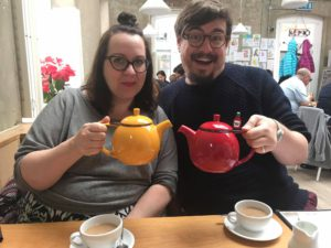 Lou and Ed (unsurprisingly) ordered tea at the Cornerstone Café in Woolwich