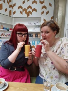 Lori and Eleanor enjoying smoothies at the Cornerstone Café in Woolwich