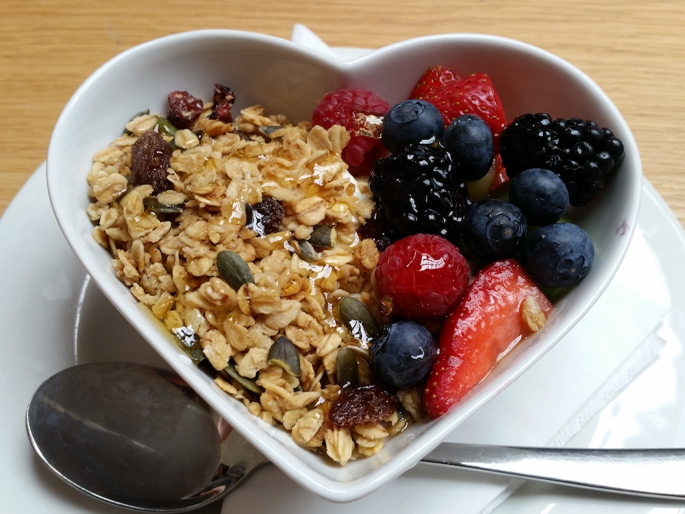 Granola, yoghurt, fruit and honey at the Cornerstone Café in Woolwich
