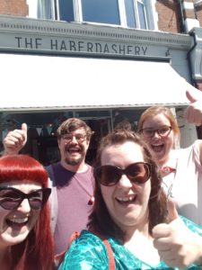 Brunch Club selfie outside The Haberdashery in Crouch End