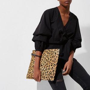 River Island leopard print clutch