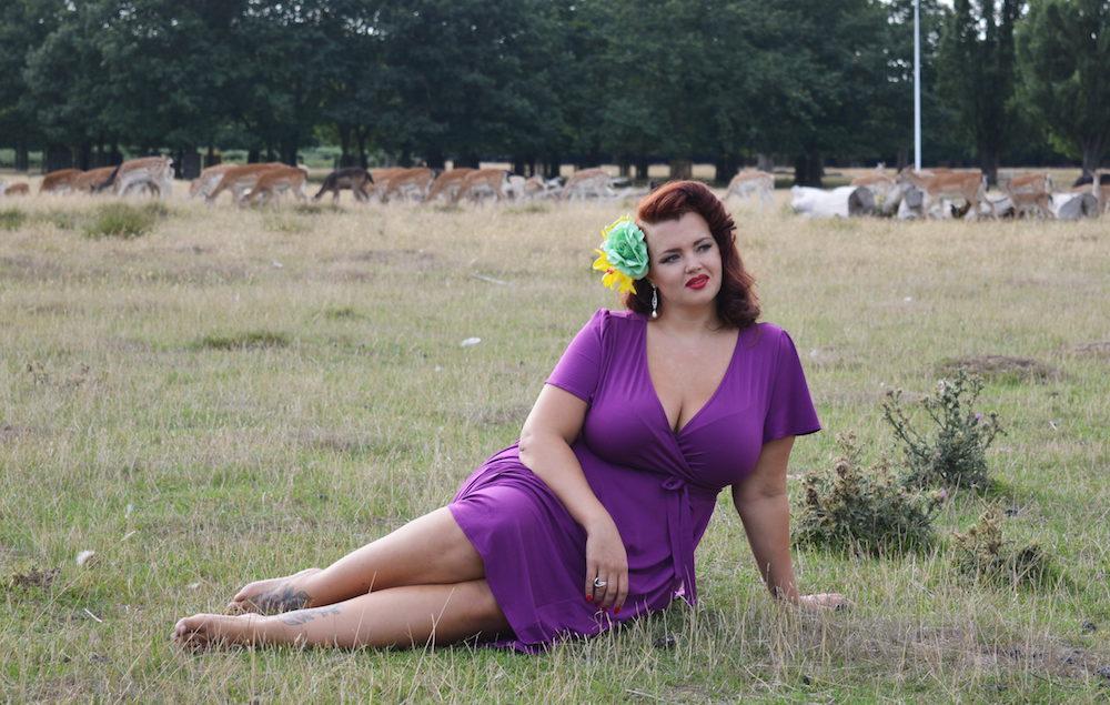 Blogger Georgina, from Fuller Figure Fuller Bust, wearing the Lady Voluptuous 'Lyra' dress