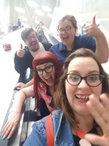 We forgot to do a Brunch Club selfie at the restaurant, so here's one on the tube escalator!