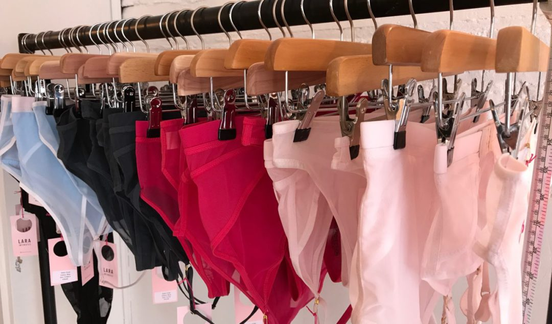 A rail of lingerie at the first Lara Intimates fit party