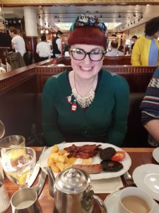 Lori with her Full English Breakfast at Fischer's