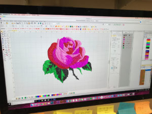 Lori's rose patch being digitised at the London Embroidery Studio