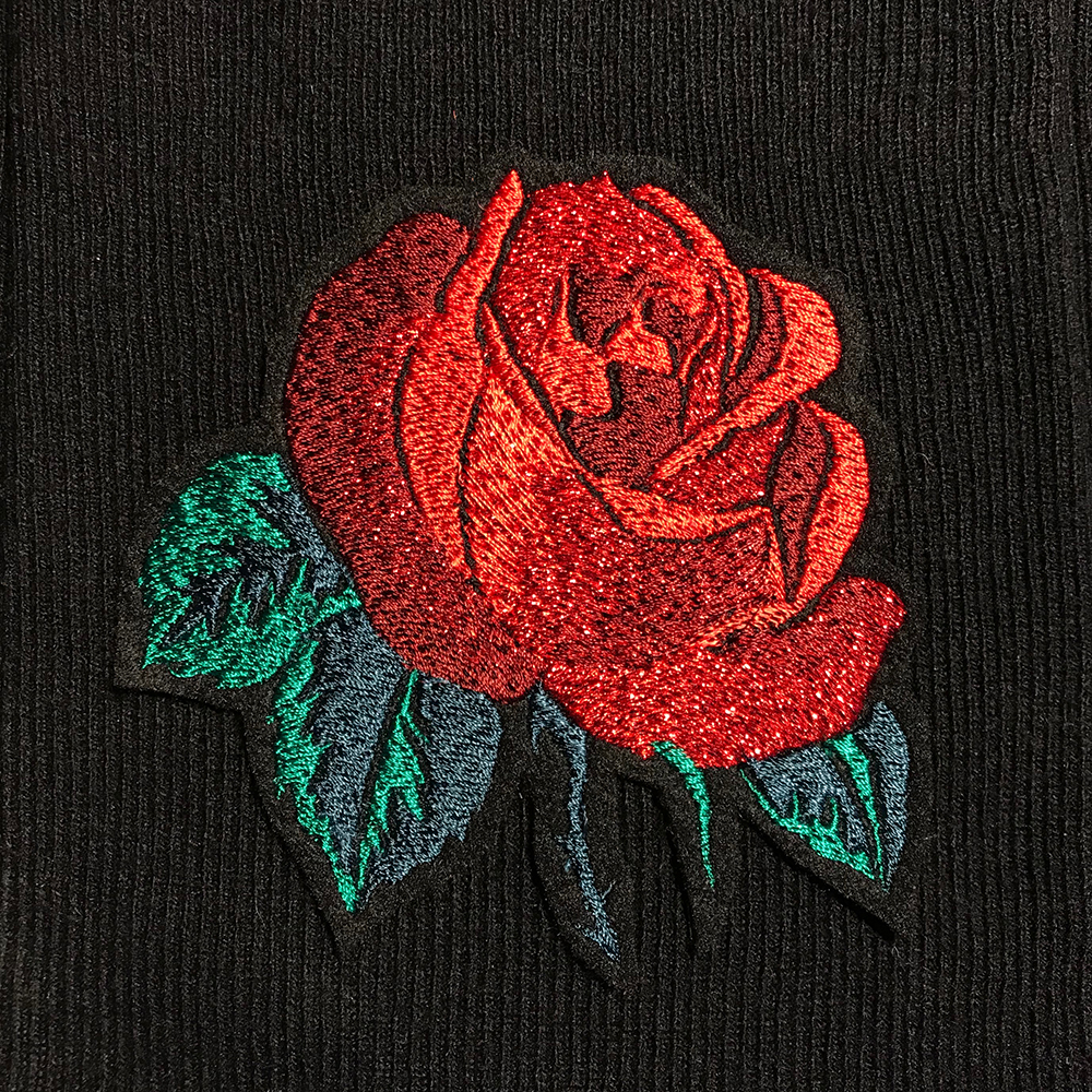 Rose embroidered patch, digitised by Lori at the London Embroidery Studio