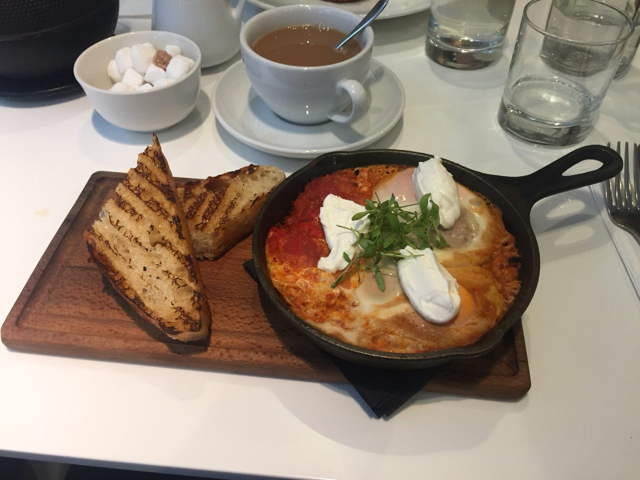 Ed's shakshuka (and tea!) at Ottolenghi