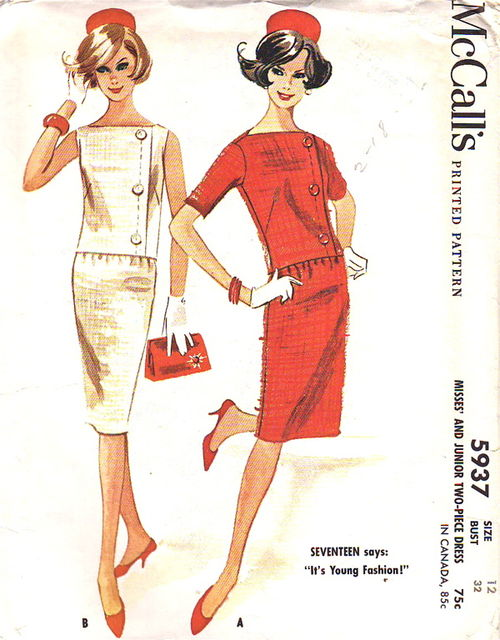 1961 McCall's sewing pattern with boat neck styles