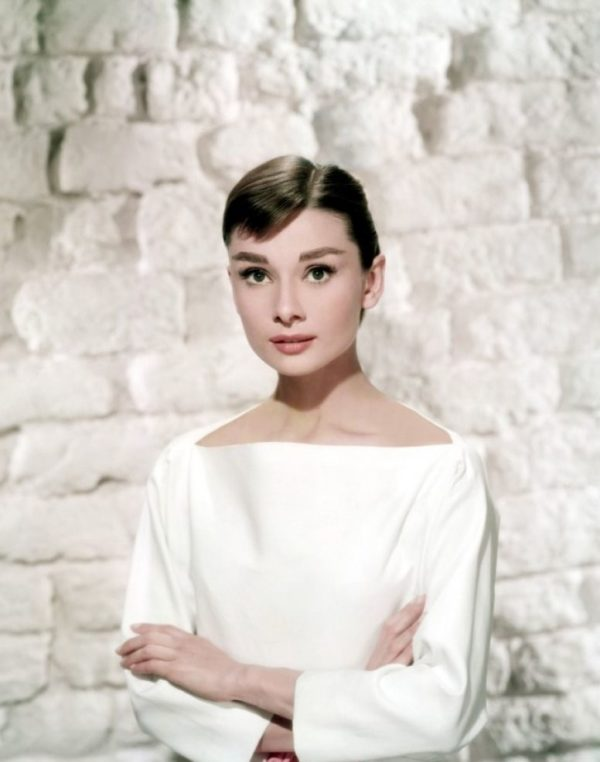 Audrey Hepburn wearing a classic boat neck top