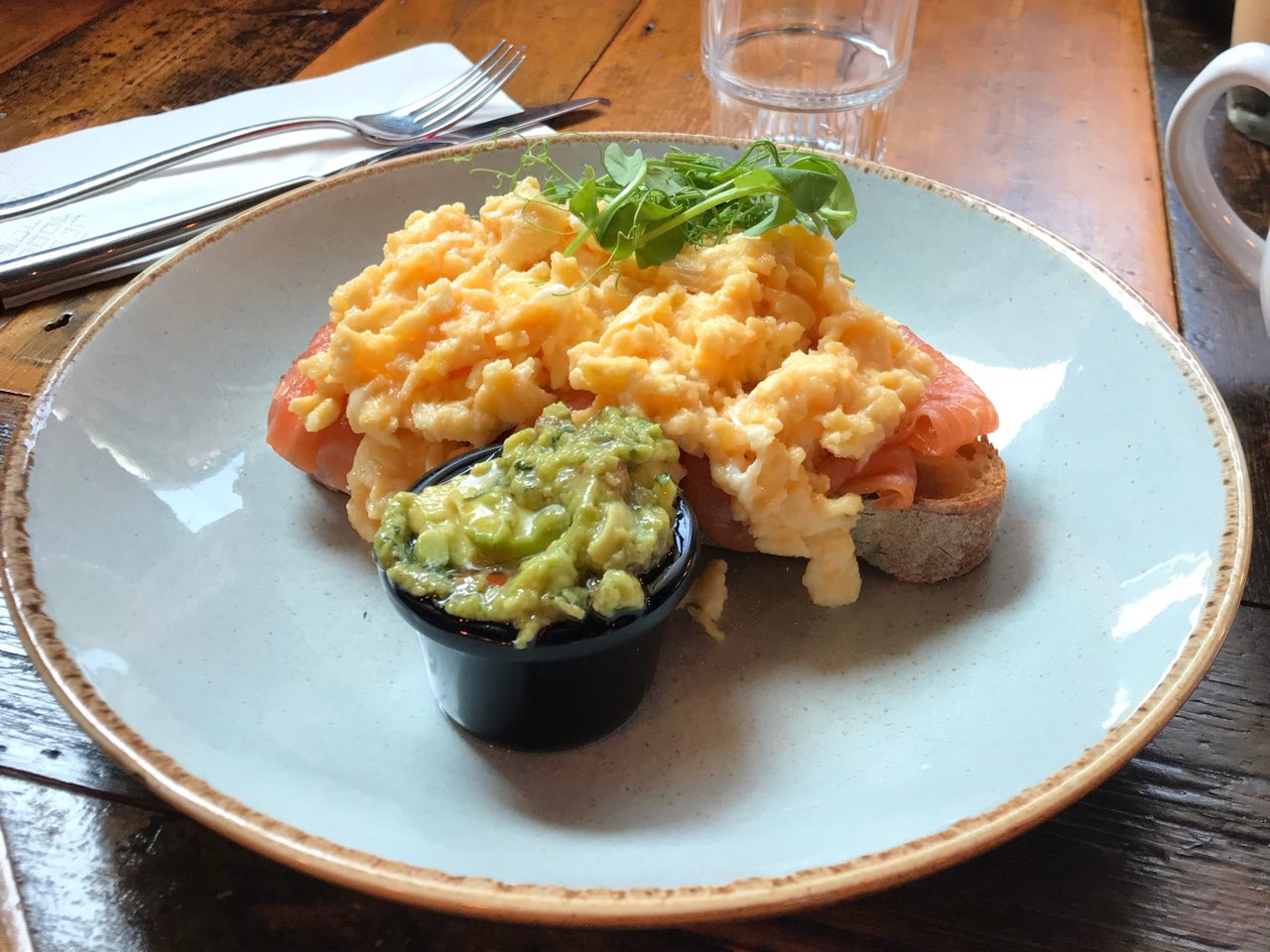 Lou's salmon and scrambled eggs, with smashed avocado on the side, at Leadbelly's