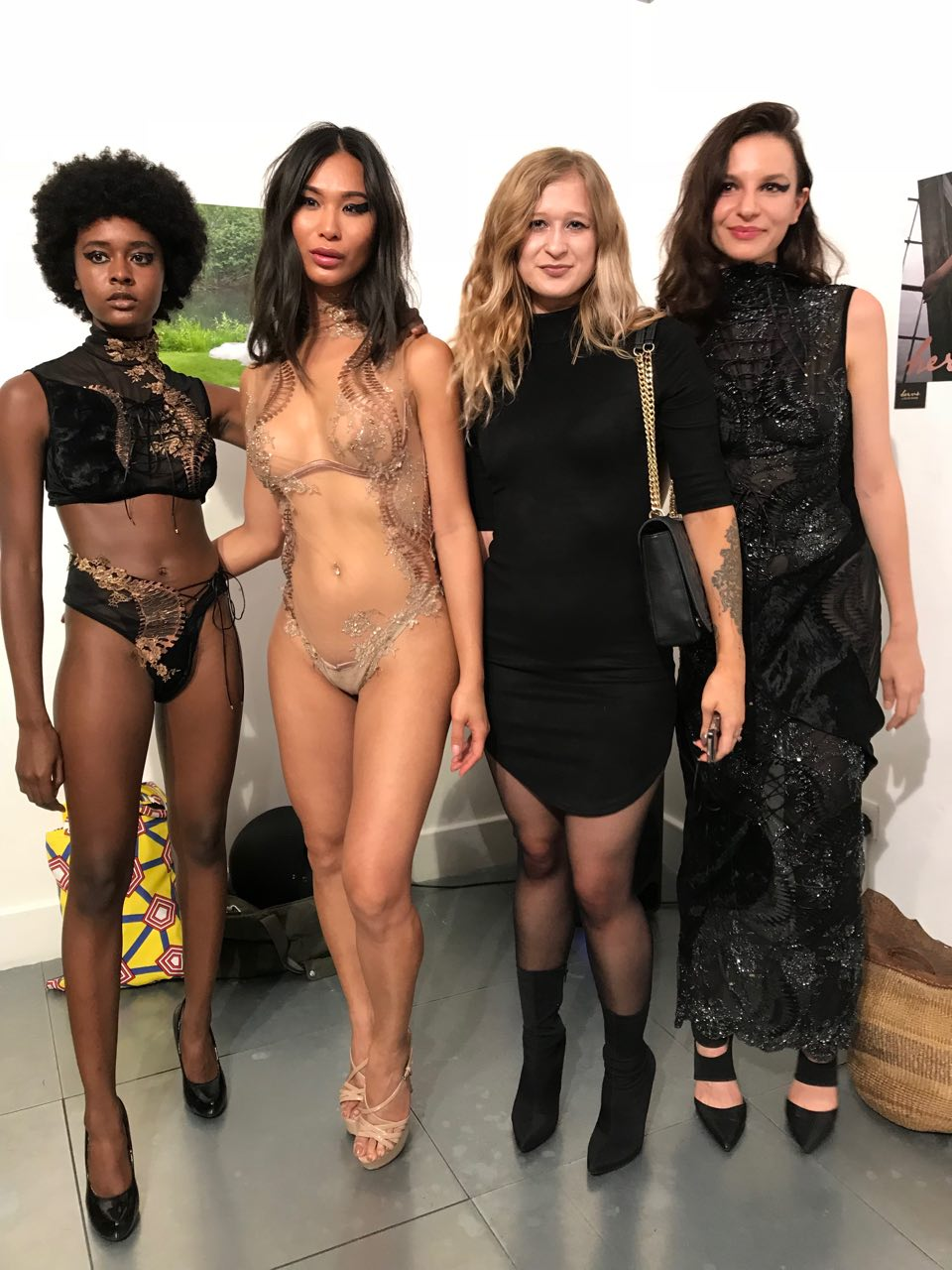 Models wearing HERVÉ by Céline Marie, alongside the designer