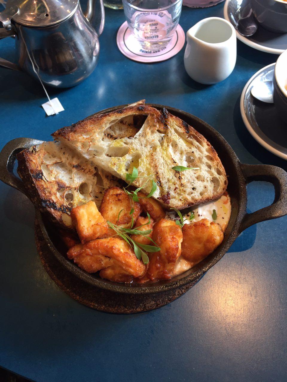 Ed's shakshuka with crispy halloumi at The Good Egg, Soho