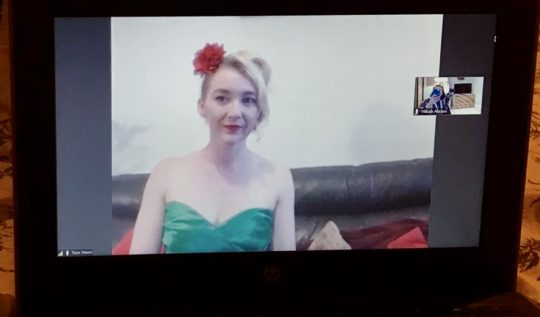 Sophie in her 80s satin party dress
